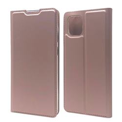 Ultra Slim Card Magnetic Automatic Suction Leather Wallet Case for Samsung Galaxy A81 - Rose Gold