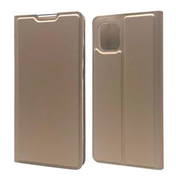 Ultra Slim Card Magnetic Automatic Suction Leather Wallet Case for Samsung Galaxy A81 - Champagne