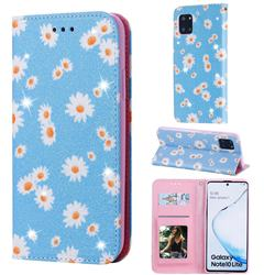 Ultra Slim Daisy Sparkle Glitter Powder Magnetic Leather Wallet Case for Samsung Galaxy A81 - Blue