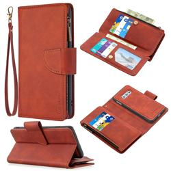 Binfen Color BF02 Sensory Buckle Zipper Multifunction Leather Phone Wallet for Samsung Galaxy A81 - Brown