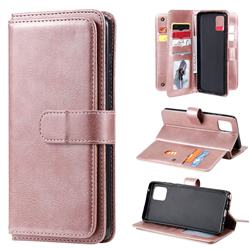 Multi-function Ten Card Slots and Photo Frame PU Leather Wallet Phone Case Cover for Samsung Galaxy A81 - Rose Gold