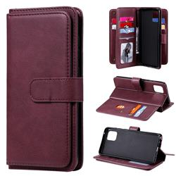 Multi-function Ten Card Slots and Photo Frame PU Leather Wallet Phone Case Cover for Samsung Galaxy A81 - Claret