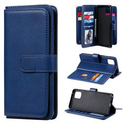 Multi-function Ten Card Slots and Photo Frame PU Leather Wallet Phone Case Cover for Samsung Galaxy A81 - Dark Blue