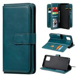 Multi-function Ten Card Slots and Photo Frame PU Leather Wallet Phone Case Cover for Samsung Galaxy A81 - Dark Green