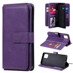 Multi-function Ten Card Slots and Photo Frame PU Leather Wallet Phone Case Cover for Samsung Galaxy A81 - Violet