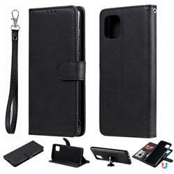 Retro Greek Detachable Magnetic PU Leather Wallet Phone Case for Samsung Galaxy A81 - Black