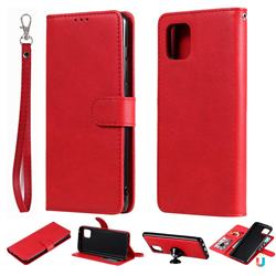 Retro Greek Detachable Magnetic PU Leather Wallet Phone Case for Samsung Galaxy A81 - Red