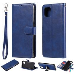 Retro Greek Detachable Magnetic PU Leather Wallet Phone Case for Samsung Galaxy A81 - Blue