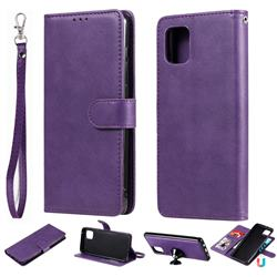 Retro Greek Detachable Magnetic PU Leather Wallet Phone Case for Samsung Galaxy A81 - Purple