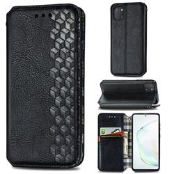 Ultra Slim Fashion Business Card Magnetic Automatic Suction Leather Flip Cover for Samsung Galaxy A81 - Black