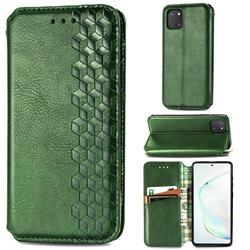 Ultra Slim Fashion Business Card Magnetic Automatic Suction Leather Flip Cover for Samsung Galaxy A81 - Green