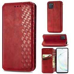 Ultra Slim Fashion Business Card Magnetic Automatic Suction Leather Flip Cover for Samsung Galaxy A81 - Red