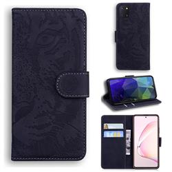 Intricate Embossing Tiger Face Leather Wallet Case for Samsung Galaxy A81 - Black