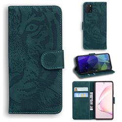 Intricate Embossing Tiger Face Leather Wallet Case for Samsung Galaxy A81 - Green