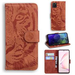 Intricate Embossing Tiger Face Leather Wallet Case for Samsung Galaxy A81 - Brown