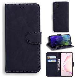 Retro Classic Skin Feel Leather Wallet Phone Case for Samsung Galaxy A81 - Black