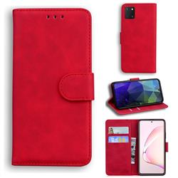 Retro Classic Skin Feel Leather Wallet Phone Case for Samsung Galaxy A81 - Red