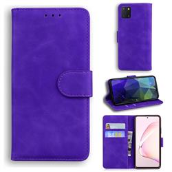 Retro Classic Skin Feel Leather Wallet Phone Case for Samsung Galaxy A81 - Purple