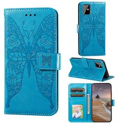 Intricate Embossing Rose Flower Butterfly Leather Wallet Case for Samsung Galaxy A81 - Blue