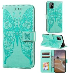 Intricate Embossing Rose Flower Butterfly Leather Wallet Case for Samsung Galaxy A81 - Green