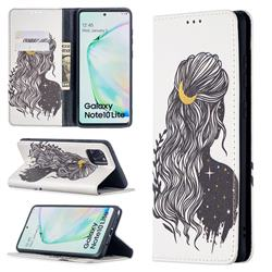 Girl with Long Hair Slim Magnetic Attraction Wallet Flip Cover for Samsung Galaxy A81