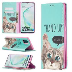 Hand Up Cat Slim Magnetic Attraction Wallet Flip Cover for Samsung Galaxy A81