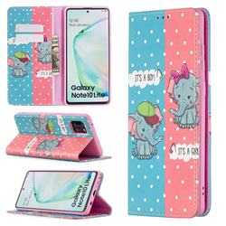 Elephant Boy and Girl Slim Magnetic Attraction Wallet Flip Cover for Samsung Galaxy A81