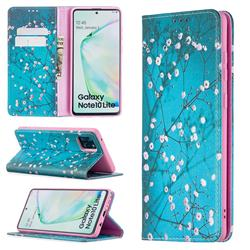 Plum Blossom Slim Magnetic Attraction Wallet Flip Cover for Samsung Galaxy A81