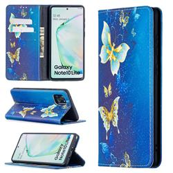 Gold Butterfly Slim Magnetic Attraction Wallet Flip Cover for Samsung Galaxy A81
