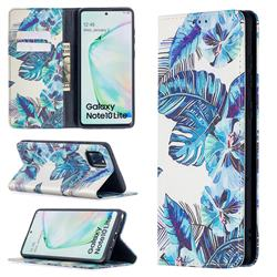 Blue Leaf Slim Magnetic Attraction Wallet Flip Cover for Samsung Galaxy A81