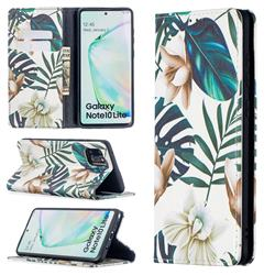 Flower Leaf Slim Magnetic Attraction Wallet Flip Cover for Samsung Galaxy A81