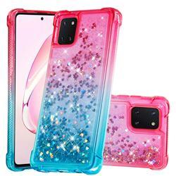 Rainbow Gradient Liquid Glitter Quicksand Sequins Phone Case for Samsung Galaxy A81 - Pink Blue