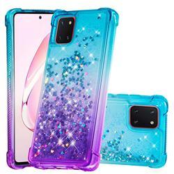 Rainbow Gradient Liquid Glitter Quicksand Sequins Phone Case for Samsung Galaxy A81 - Blue Purple