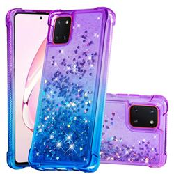 Rainbow Gradient Liquid Glitter Quicksand Sequins Phone Case for Samsung Galaxy A81 - Purple Blue