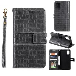 Luxury Crocodile Magnetic Leather Wallet Phone Case for Samsung Galaxy A81 - Gray