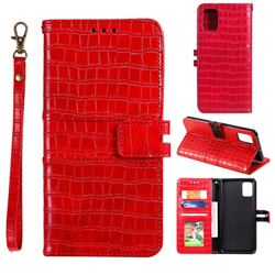 Luxury Crocodile Magnetic Leather Wallet Phone Case for Samsung Galaxy A81 - Red