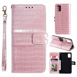 Luxury Crocodile Magnetic Leather Wallet Phone Case for Samsung Galaxy A81 - Rose Gold