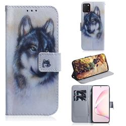 Snow Wolf PU Leather Wallet Case for Samsung Galaxy A81