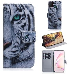 White Tiger PU Leather Wallet Case for Samsung Galaxy A81