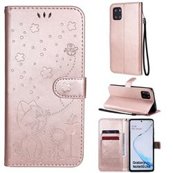 Embossing Bee and Cat Leather Wallet Case for Samsung Galaxy A81 - Rose Gold