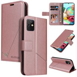 GQ.UTROBE Right Angle Silver Pendant Leather Wallet Phone Case for Samsung Galaxy A81 - Rose Gold