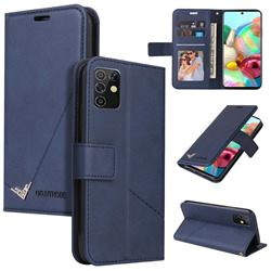 GQ.UTROBE Right Angle Silver Pendant Leather Wallet Phone Case for Samsung Galaxy A81 - Blue