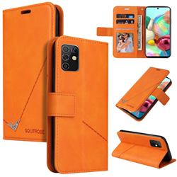 GQ.UTROBE Right Angle Silver Pendant Leather Wallet Phone Case for Samsung Galaxy A81 - Orange