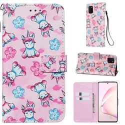 Unicorn and Flowers Matte Leather Wallet Phone Case for Samsung Galaxy A81