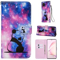 Panda Baby Matte Leather Wallet Phone Case for Samsung Galaxy A81
