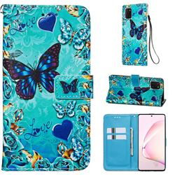 Love Butterfly Matte Leather Wallet Phone Case for Samsung Galaxy A81
