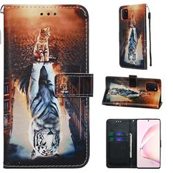 Cat and Tiger Matte Leather Wallet Phone Case for Samsung Galaxy A81