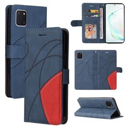 Luxury Two-color Stitching Leather Wallet Case Cover for Samsung Galaxy A81 - Blue