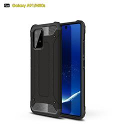 King Kong Armor Premium Shockproof Dual Layer Rugged Hard Cover for Samsung Galaxy A91 - Black Gold