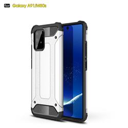 King Kong Armor Premium Shockproof Dual Layer Rugged Hard Cover for Samsung Galaxy A91 - White